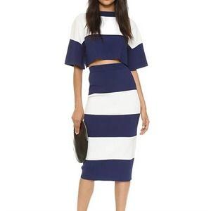 Kendall + Kylie Navy White Knit Crop Top Skirt Set